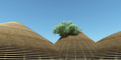 Le colline in legno da cui emerge l'Albero della Conoscenza
