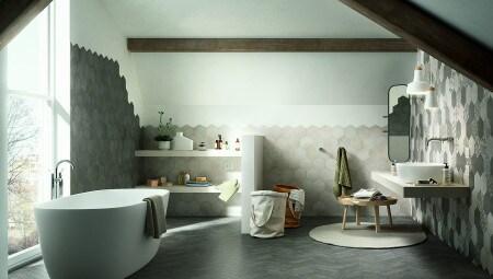 La collezione Clays di Marazzi, sia a pavimento che come rivestimento, in un ambiente bagno.