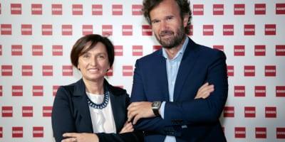Fabiana Scavolini, Amministratore Delegato Scavolini Spa e Carlo Cracco, testimonial della nuova campagna pubblicitaria Scavolini, durante la conferenza stampa di presentazione.