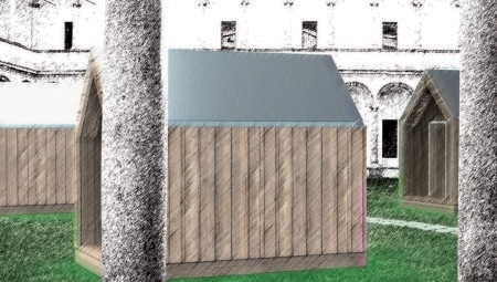 """La casetta del viandante by Marco Ferreri. """"Il tetto in lamiera della casetta convoglia l'acqua piovana in una gronda che alimenta una vasca. La quantità d'acqua permette a due persone di fare una doccia. D'inverno, l'acqua è riscaldata da una stufa a legna su cui si possono anche cucinare i cibi, mentre d'estate il calore è fornito da un piccolo pannello solare termico. Un pannello fotovoltaico alimenta una batteria a bassa tensione che fa funzionare tre lampadine led ed è sufficiente per ricaricare il cellulare"""". Arredi di: Billiani, Danese, Magis, A Ferro e Fuoco."""