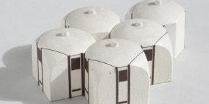 04_Roberto Menghi Maquette componibili per capanno Guscio, 1966, Legno, vernice, cartoncino, china, 50x50 mm cadauno, 24 pezzi