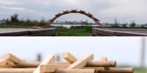 Orsetta Rocchetto e Giorgio Sinapi - Ponte di Leonardo, gioco formativo e didattico di costruzione in legno d'abete