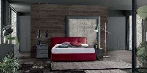 PREMIUM INTERIOR_FEBAL NOTTE DARK MOOD_Gruppo Giove gigio Fango Lux e Matt - letto Cosmopolitan Avatar Rosso