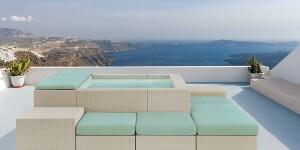 Fira. The capital of Santorini island in the Mediterranean Sea.