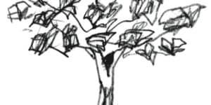 """Il disegno """"L'Albero delle Lettere"""" realizzato da Michele De Lucchi."""