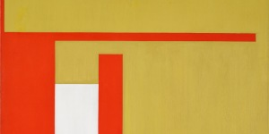 Bruno Munari (Milano, 1907 - 1998). Negativo-positivo giallo-rosso, 1951. Olio su tela, 100 x 100 cm. Collezione Intesa Sanpaolo