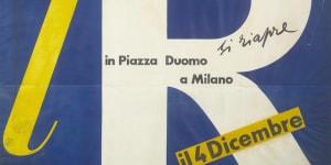 Albe Steiner, lR. Si riapre il 4 Dicembre, 1950, manifesto, Archivio la Rinascente, Milano