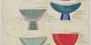 Seguso, disegno di Flavio Poli, coppa, china e acquerello su cartoncino