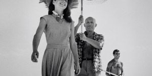 FRANCE. Golfe-Juan. August, 1948. Pablo Picasso and Françoise Gilot.