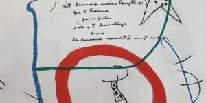 Joan Miro Senza Titolo 1975 incisione dal libro Adonides con poesia di Jacques Prévert cm 40x33