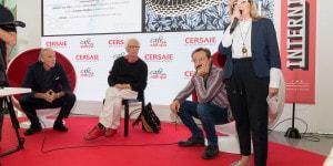 Il direttore di Interni, Gilda Bojardi, introduce gli ospiti: da sinistra, Massimo Iosa Ghini, Giampiero Mughini, Cesare Picco.