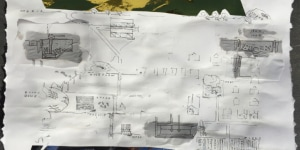 Robert Mull: Pikpa Camp, Lesvos, 2016, disegno.