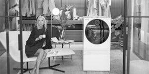Paola Marella con la lavasciuga.