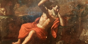 Uno dei pezzi più prestigiosi della mostra: il San Girolamo eremita che ascolta gli angeli suonare le trombe del Giudizio, proveniente dalla bottega del Guercino