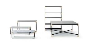 Tavoli e libreie della collezione Match per Arflex.