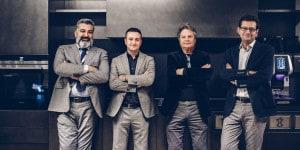Da sinistra, Mattia De Rosa, direttore Cloud & Enterprise di Microsoft Italia, Claudio Carnevali, Ceo Iomote, Daniele Radi Temelini, presidente Pedini Spa, Andrea Cardillo, direttore Microsoft Technology Center