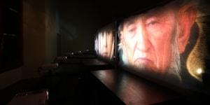 Studio Azzurro - SAGAS, Bamiyan Living Culture / A Diary about a Project, ambiente video per sei schermi sincronizzati, Firenze 2017. Foto di Studio Azzurro