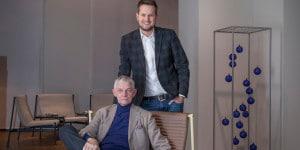 Sebastian Herkner standing and Giulio Cappellini on Telo Lounge