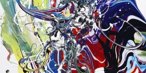 Katrin Fridriks, Super Sonic & Divine Wonders I, 2017, acrilico su tela, 70x70 cm