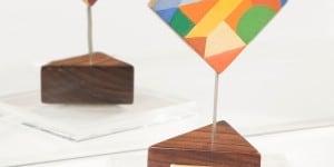 Sottobicchiere – forme geometriche colorate e linee andamentali, anni Venti, olio su tavola, cm 7,7x7,7_preview