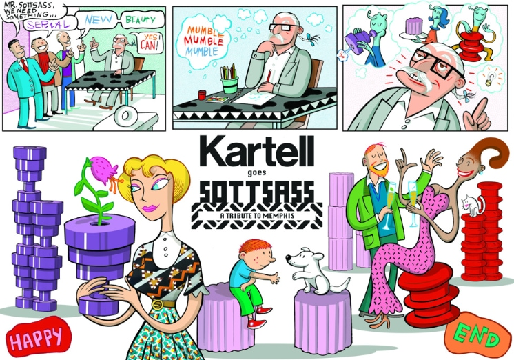 Kartell goes Sottsass diventa un fumetto e un cartoon