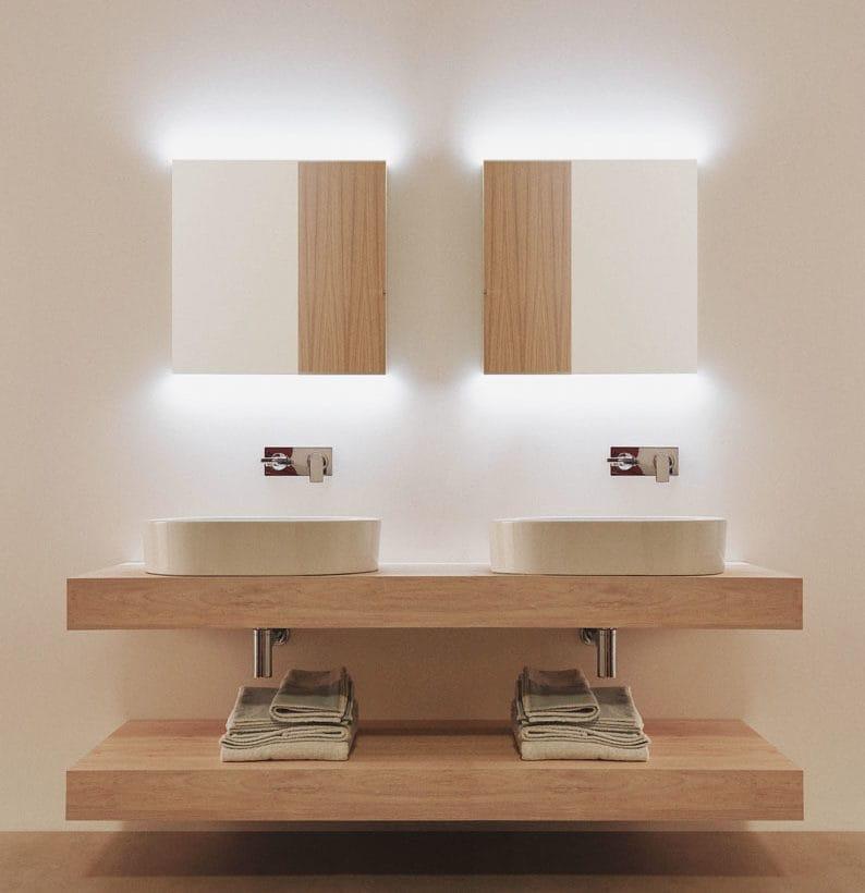 Lavabi Strada II ovali 60×40, mobile Adapto mensole 170 cm legno miele, Edge a parete, specchi 60×70 cm