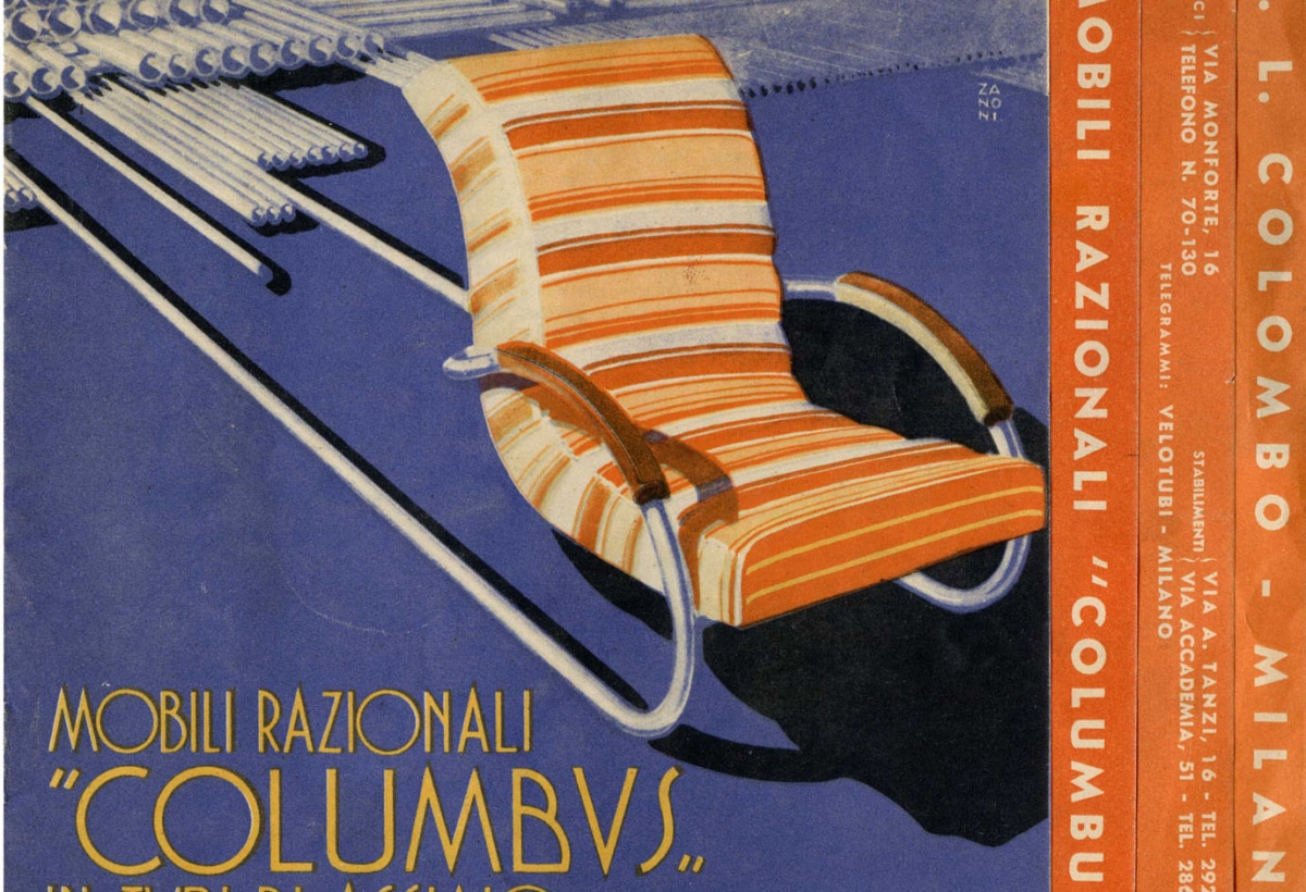 Dépliant pubblicitario Mobili razionali Columbus, in tubi di acciaio, 1934. Archivio Storico Columbus,