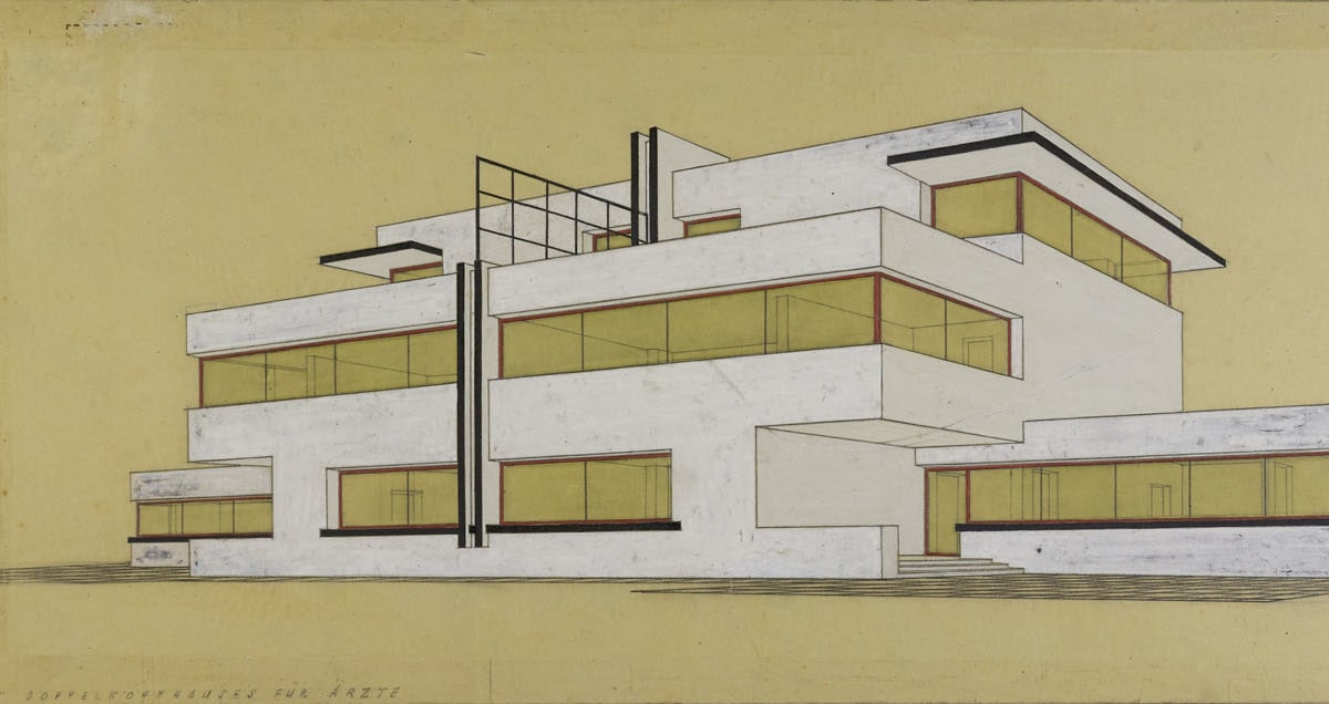 Garden front of a pair of semi-detached houses for doctors, by Carl Fieger (c) Stiftung Bauhaus Dessau