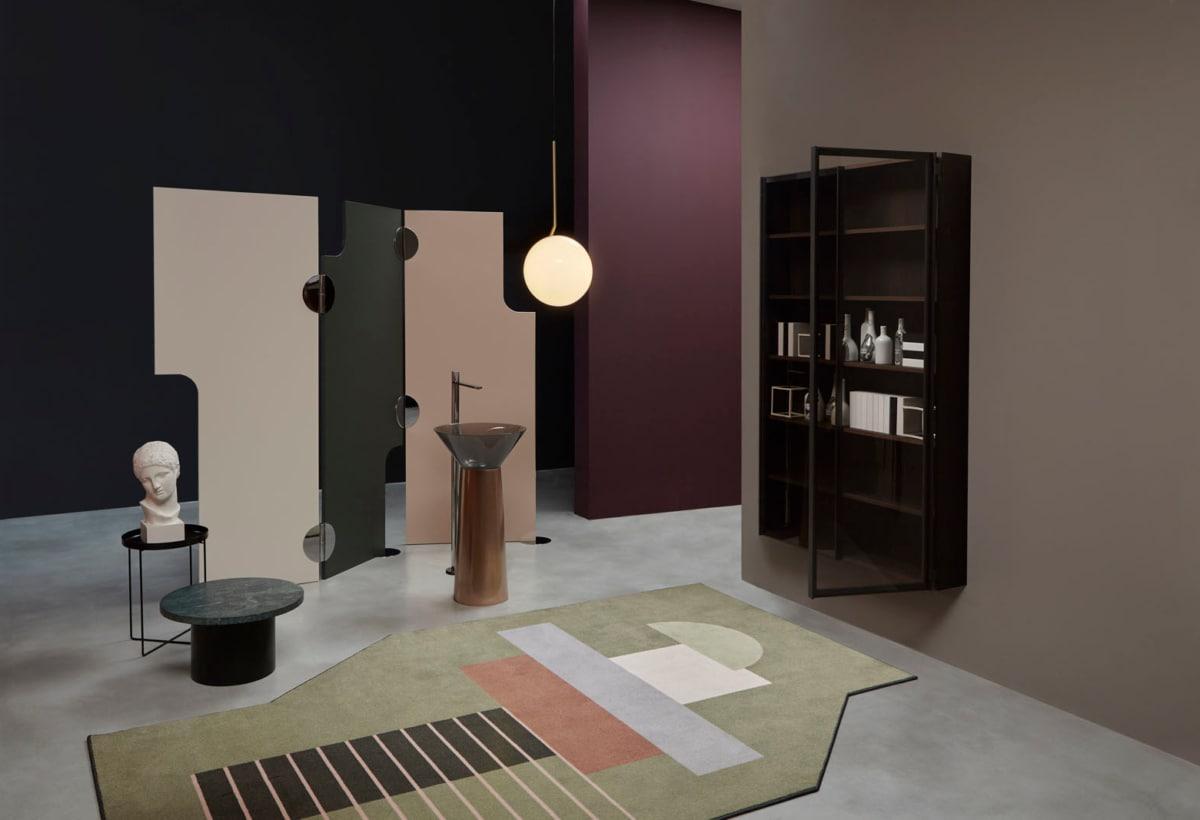 antoniolupi SHOWROOM paravento SIPARIO e Albume color Rame