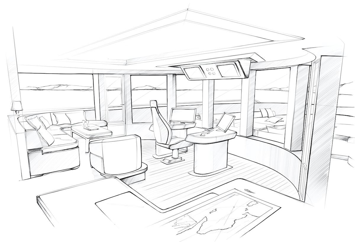Benetti Oasis 40M_Wheelhouse Sketch_alta