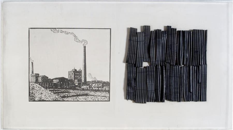 1. Dentro l'immagine, 1974, fusaggini su tela emulsionata, cm 50×90