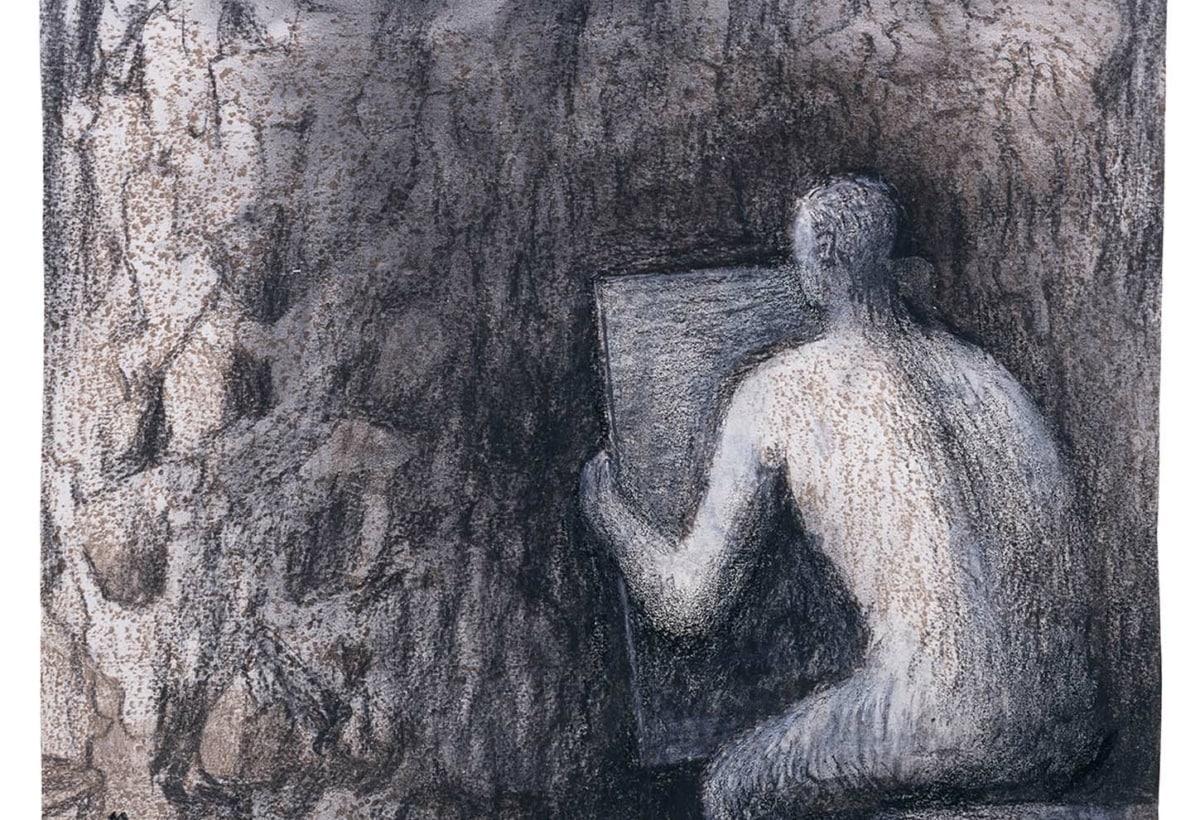 Man Drawing Rock Formation 1982