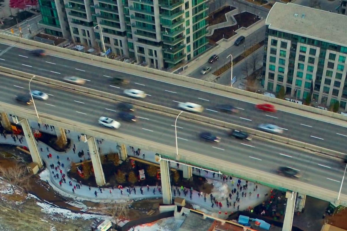 Aerial View_Skate Trail and Expressway_Credit Bentway Conservancy
