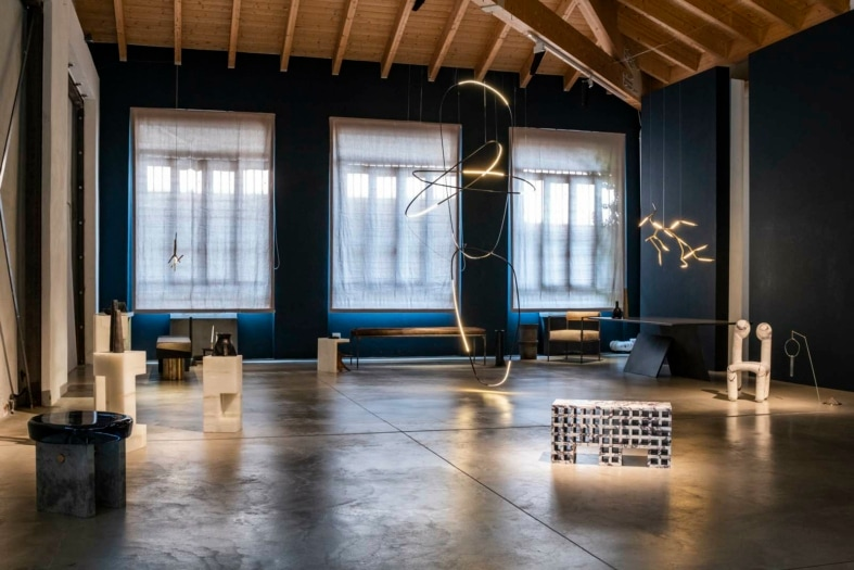 FuoriSalne 2021 Rick Owens, Dialog with emerging Italian Designers. Galerie Philia. Ph. Maison Mouton Noir