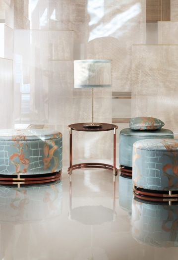 FuoriSalone 2021 Armani Casa pouf Rodeo verticale