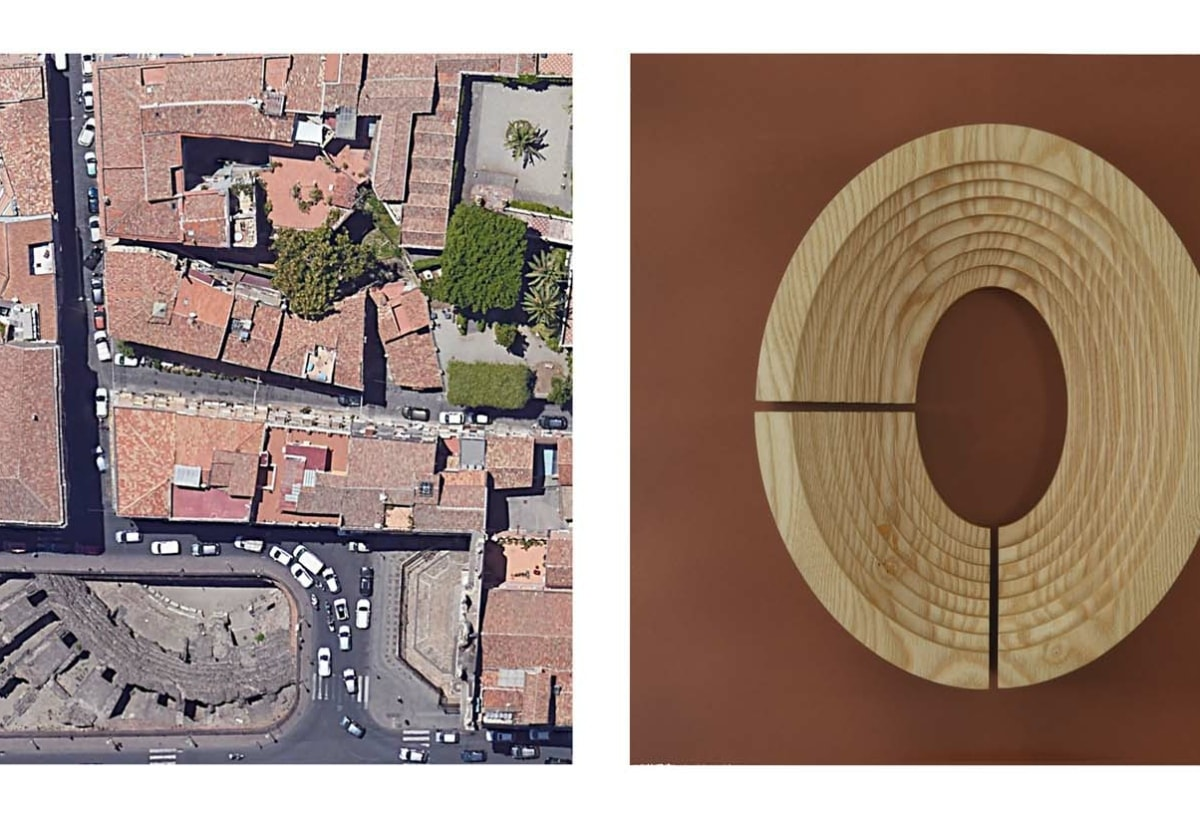 "Anfiteatro di Catania_""PER ME CIVITAS CATANENSIUM SUBLIMATUR A CHRISTO""_photo credits Google Earth"